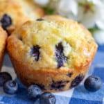 Close up image of Lemon Blueberry Muffins with glaze.