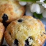 Close up image of lemon blueberry muffins with text overlay.