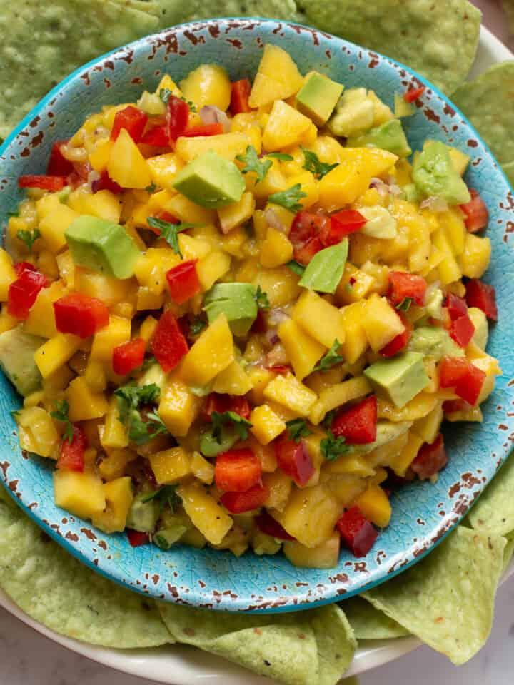 Close up image of mango salsa.