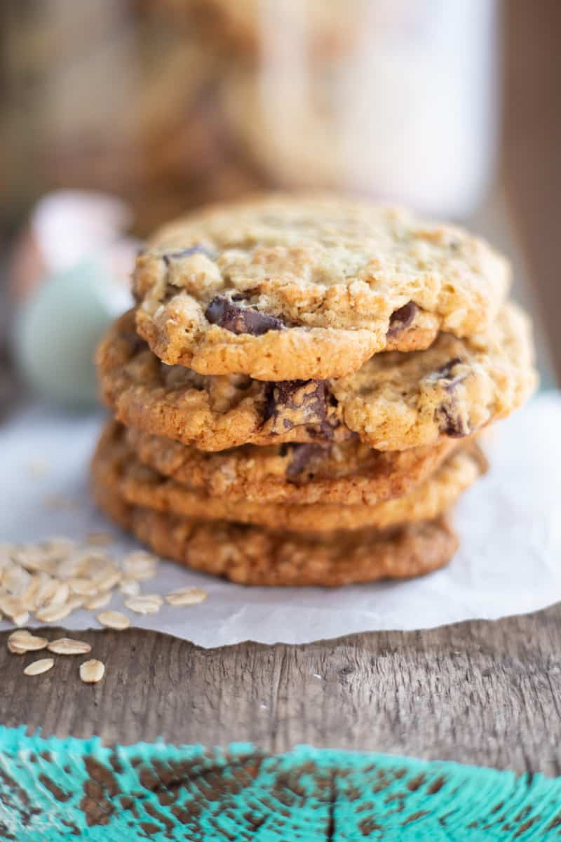Oatmeal Chocolate Chunk Cookies on parchment paper