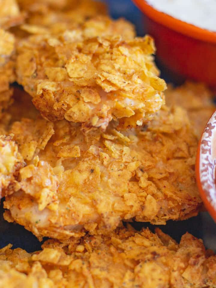 Close up image of Cool Ranch Doritos Chicken Tenders.