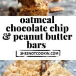 Close up mage of oatmeal bars with text overlay.