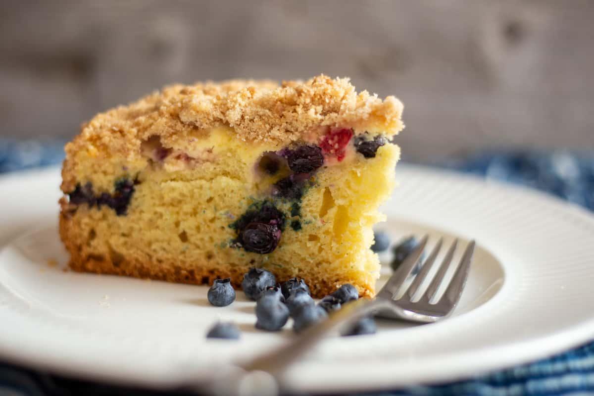 Close up image of Blueberry Raspberry Cream Cheese Coffee Cake.