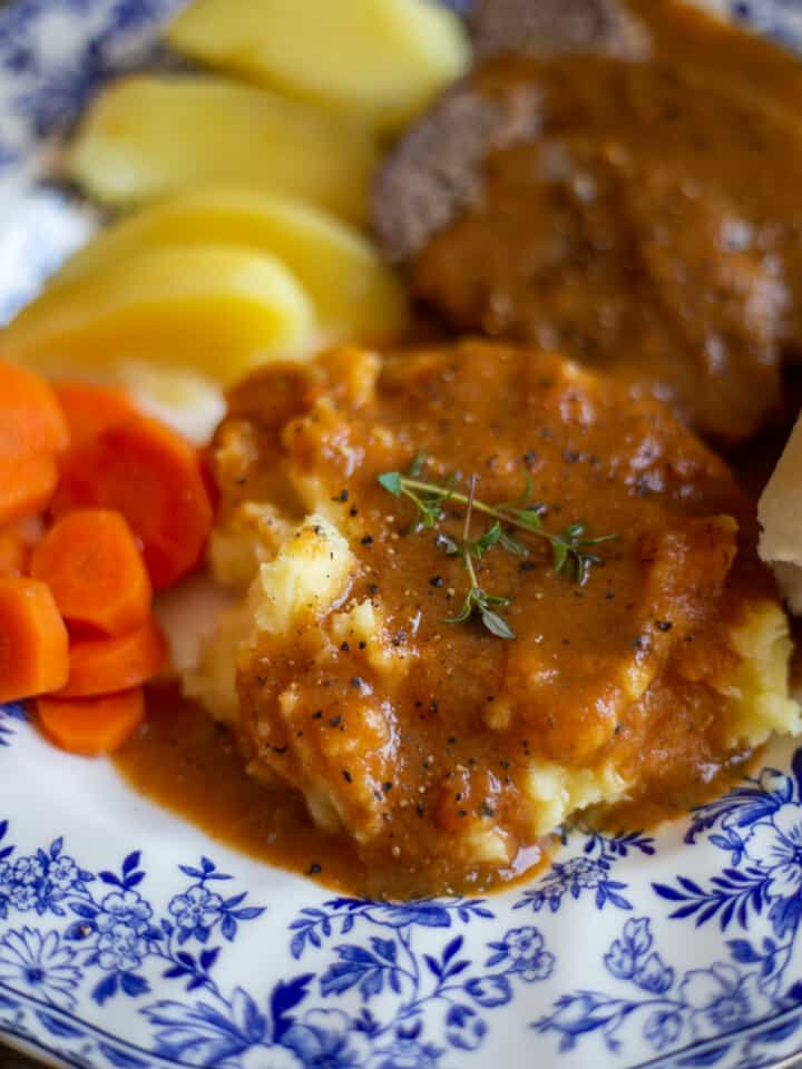 close up of Beef Pot Roast with Vegetable Gravy