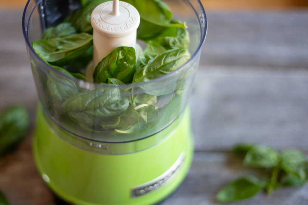 fresh basil in kitchen aid food processor