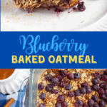 blueberry baked oatmeal on white plate with fresh peaches.