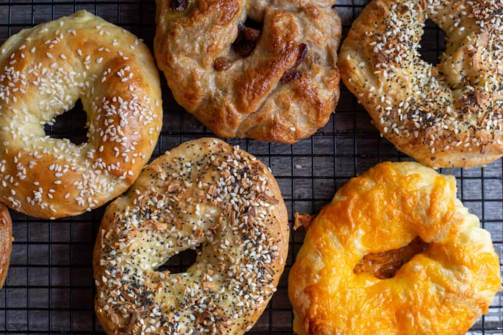 A variety of homemade bagels with sesame seeds, everything bagel seasoning, shredded cheese and cinnamon raisin sitting on a wire cooling rack.