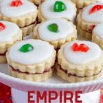 Empire cookies on white footed platter