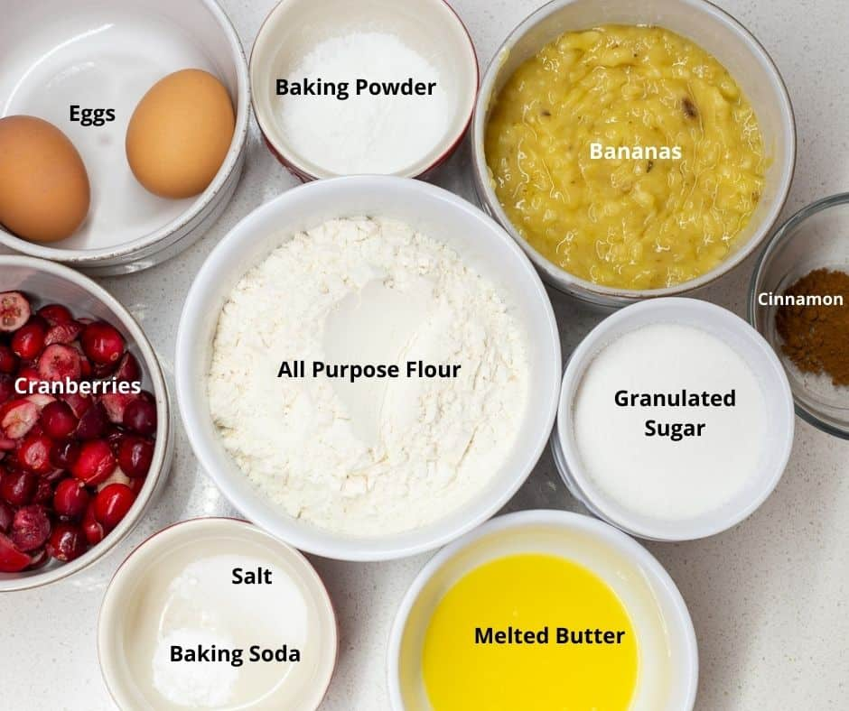 Ingredients for cranberry-banana bread with text overlay on each ingredient.