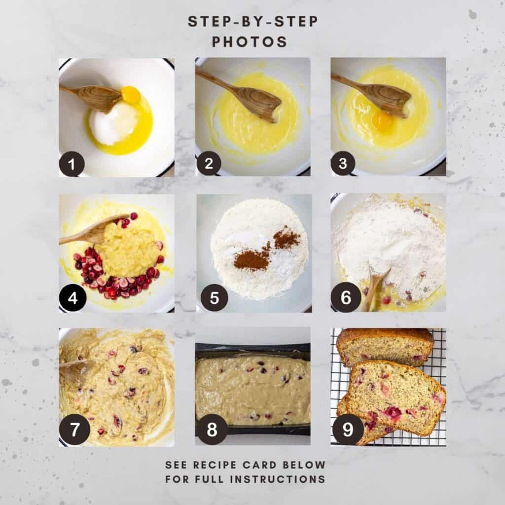 Collage image of 9 steps and images for making the recipe.