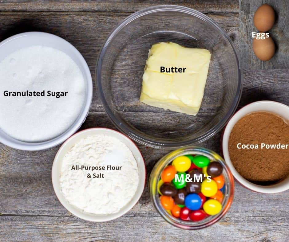 Ingredients for this recipe in bowls with text overlay.