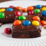 Brownies on white plate.