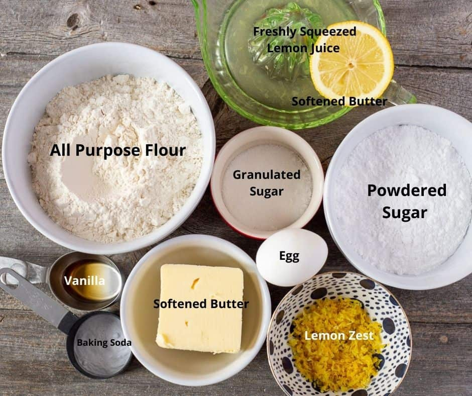 Ingredients for making the recipe with text overlay on each ingredient.