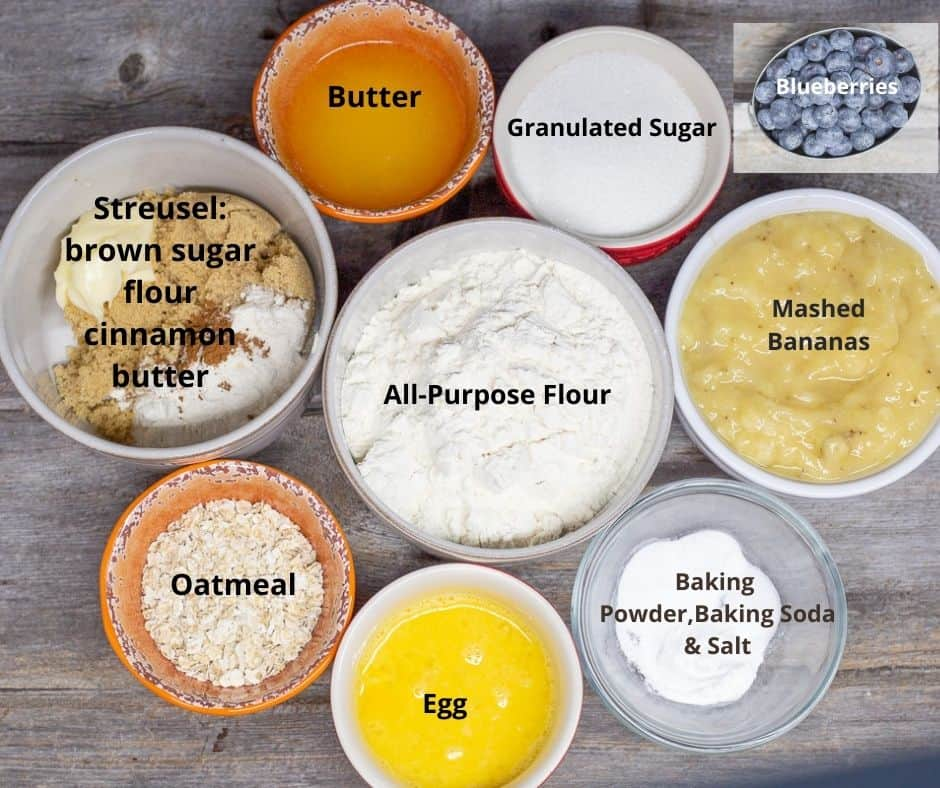 All ingredients for blueberry banana oatmeal muffins in bowls, with text overlay identifying each ingredient.
