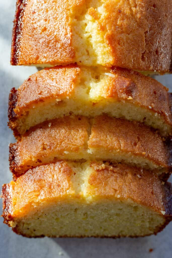 Close up picture showing the texture of finished result of Glazed Lemon Loaf recipe.