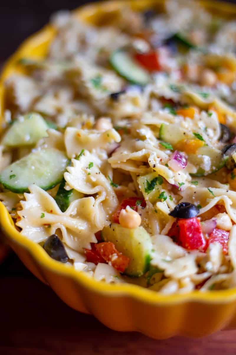 Close up image of mediterranean pasta salad with chickpeas.
