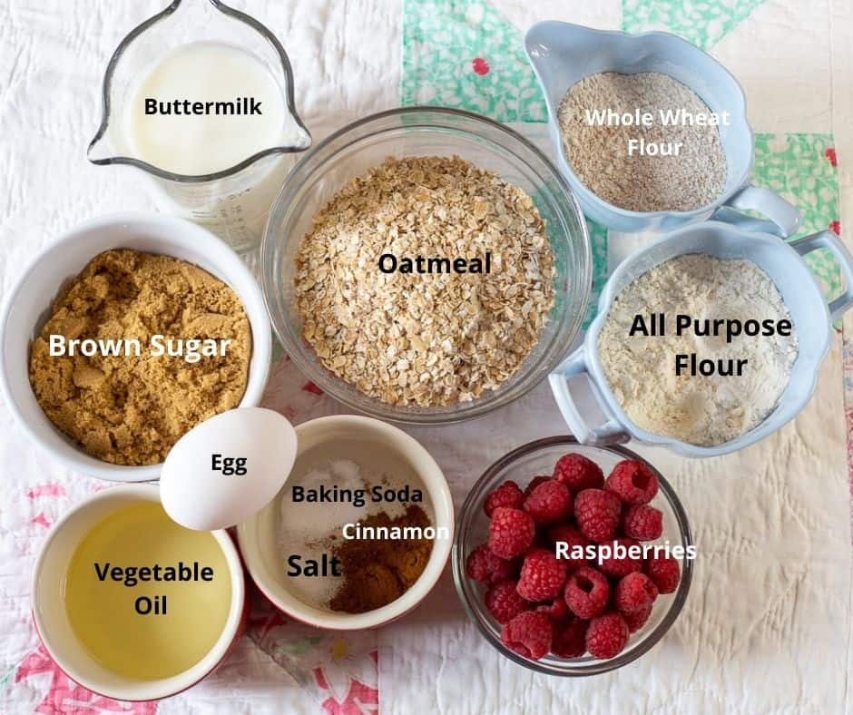 Ingredients photo with text overlay for Raspberry Oatmeal Muffins.