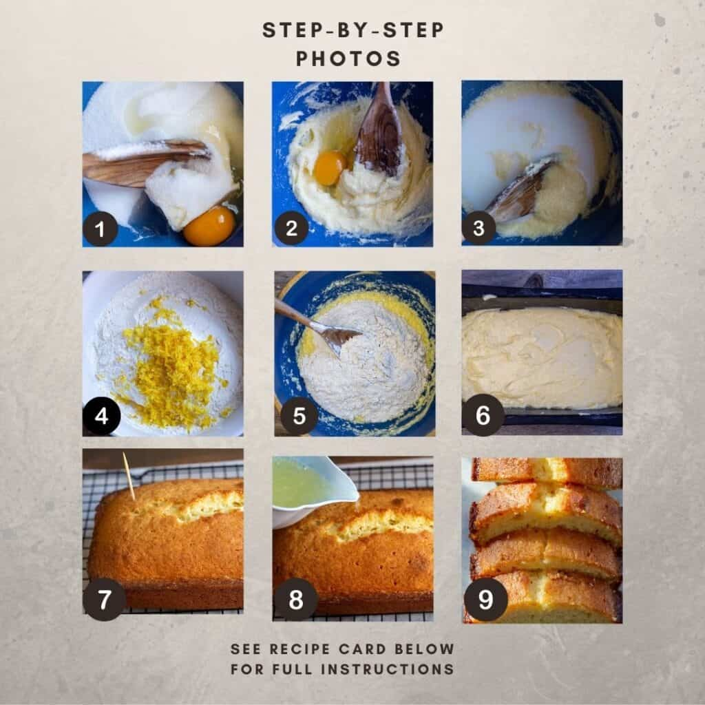 Numbered Step by Step photos showing process images for how to make Glazed Lemon Loaf.