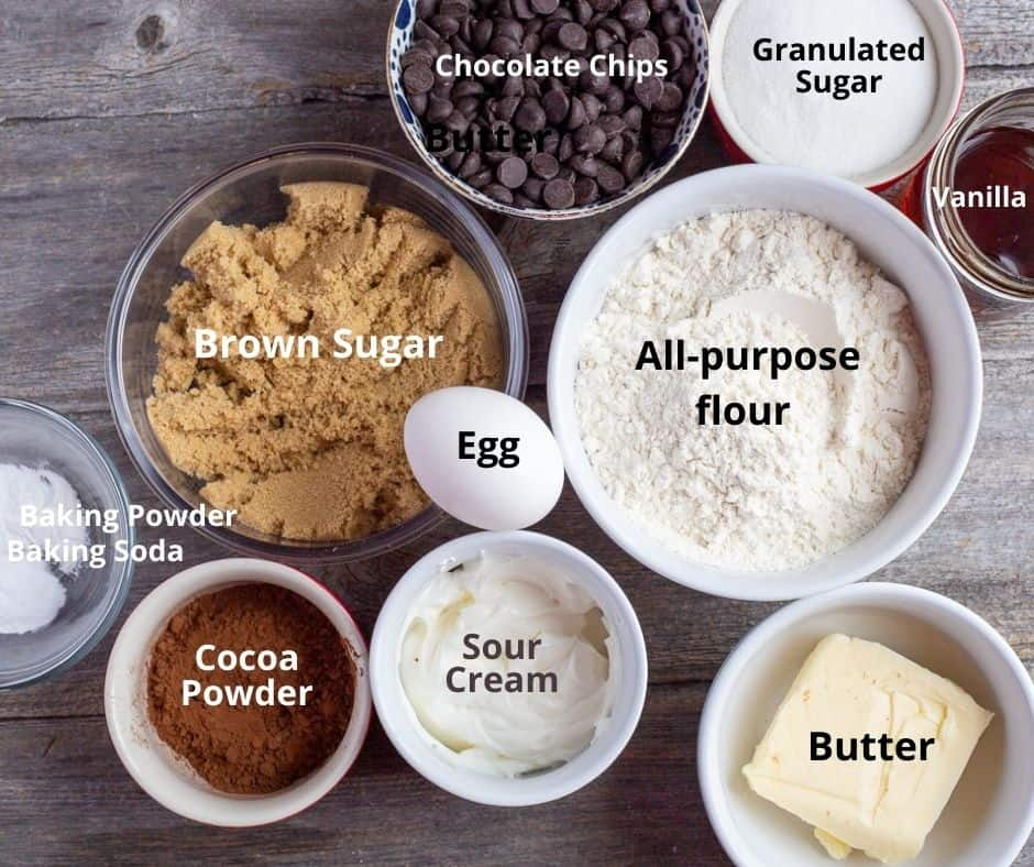 Labelled ingredients for making this recipe.