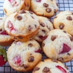 Close up image of Strawberry Chocolate Chip Muffins