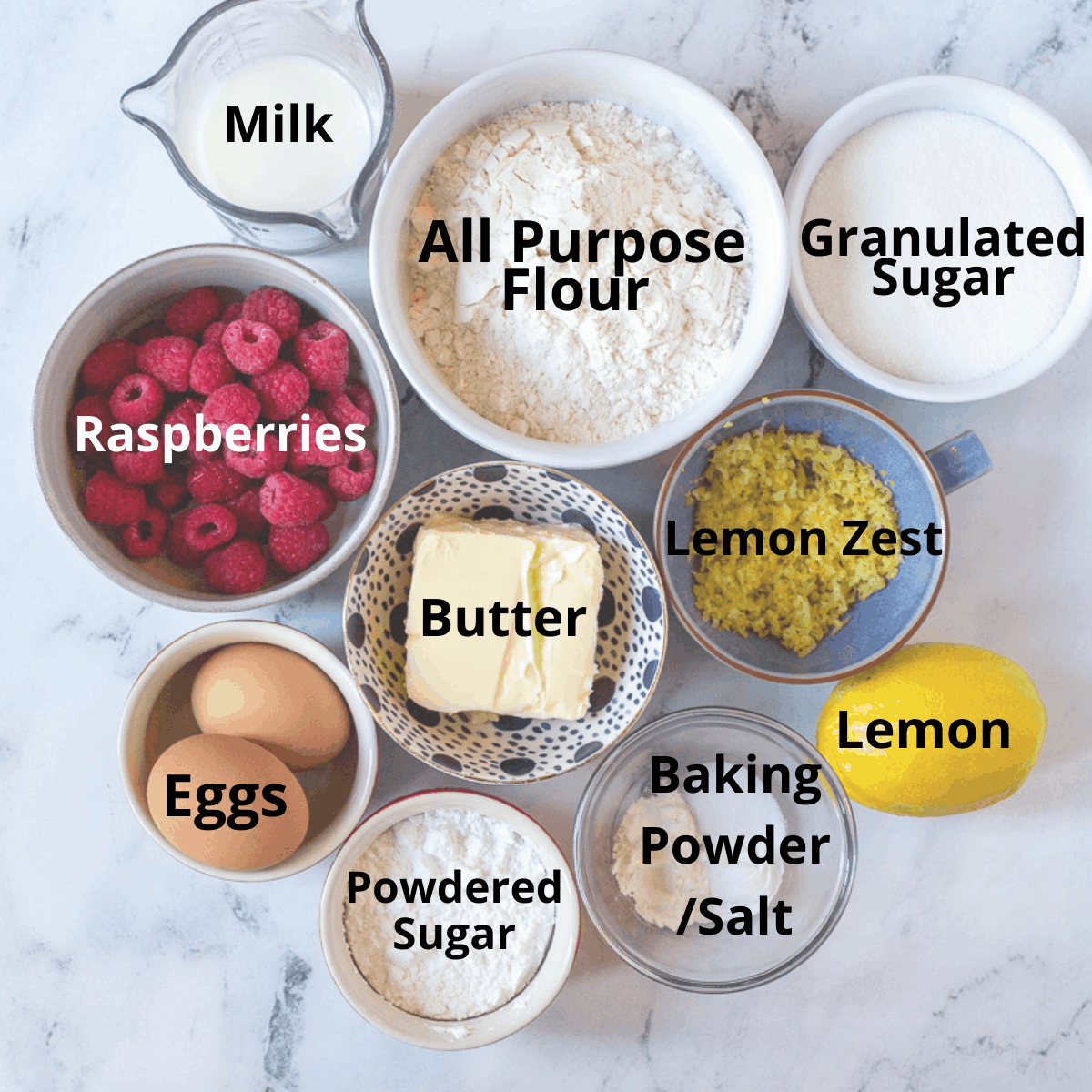 Ingredients for Lemon Raspberry Bread with text overlay.