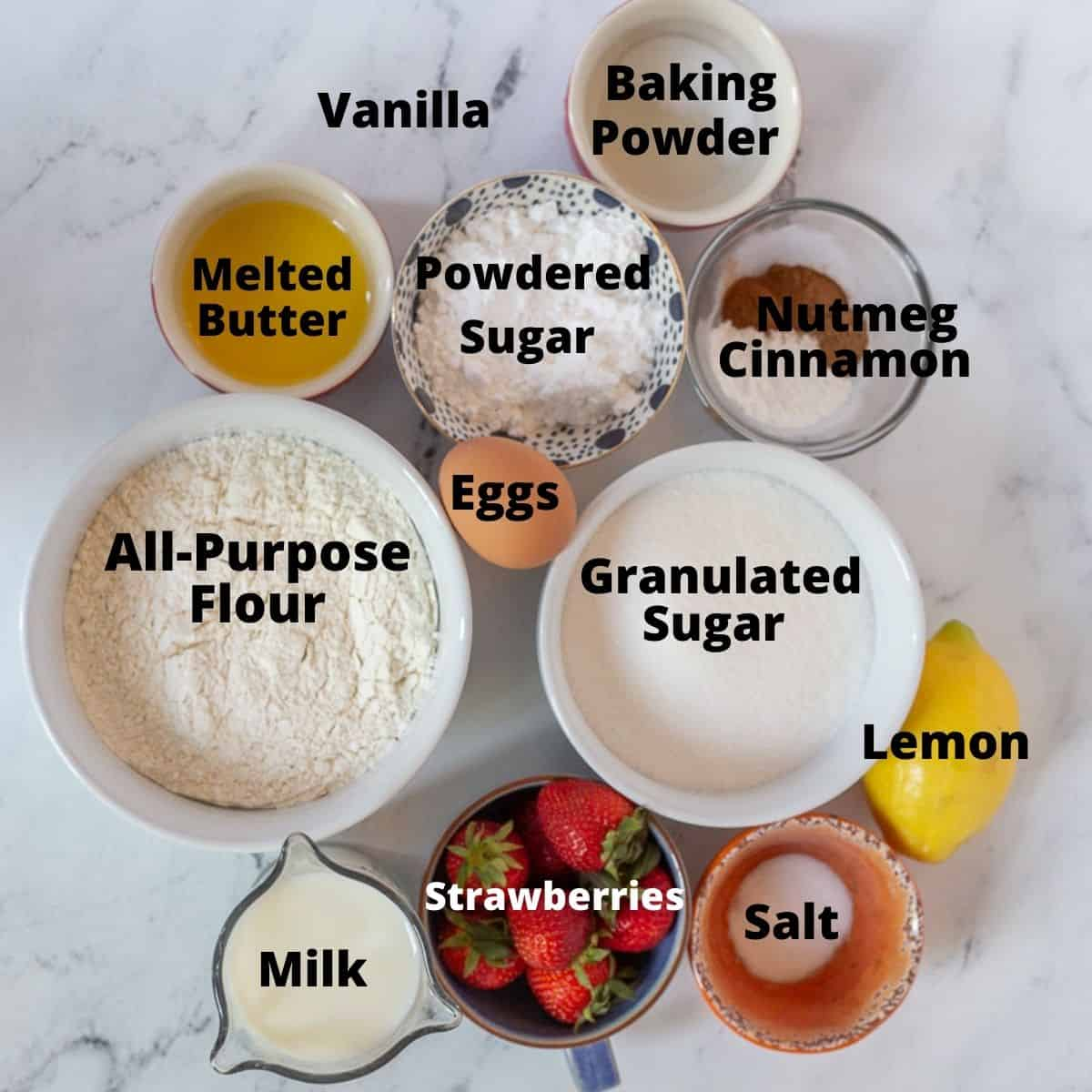 Ingredients for recipe in small bowls with text overlay.