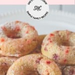 Close up image of Strawberry Glazed Donuts with text overlay.