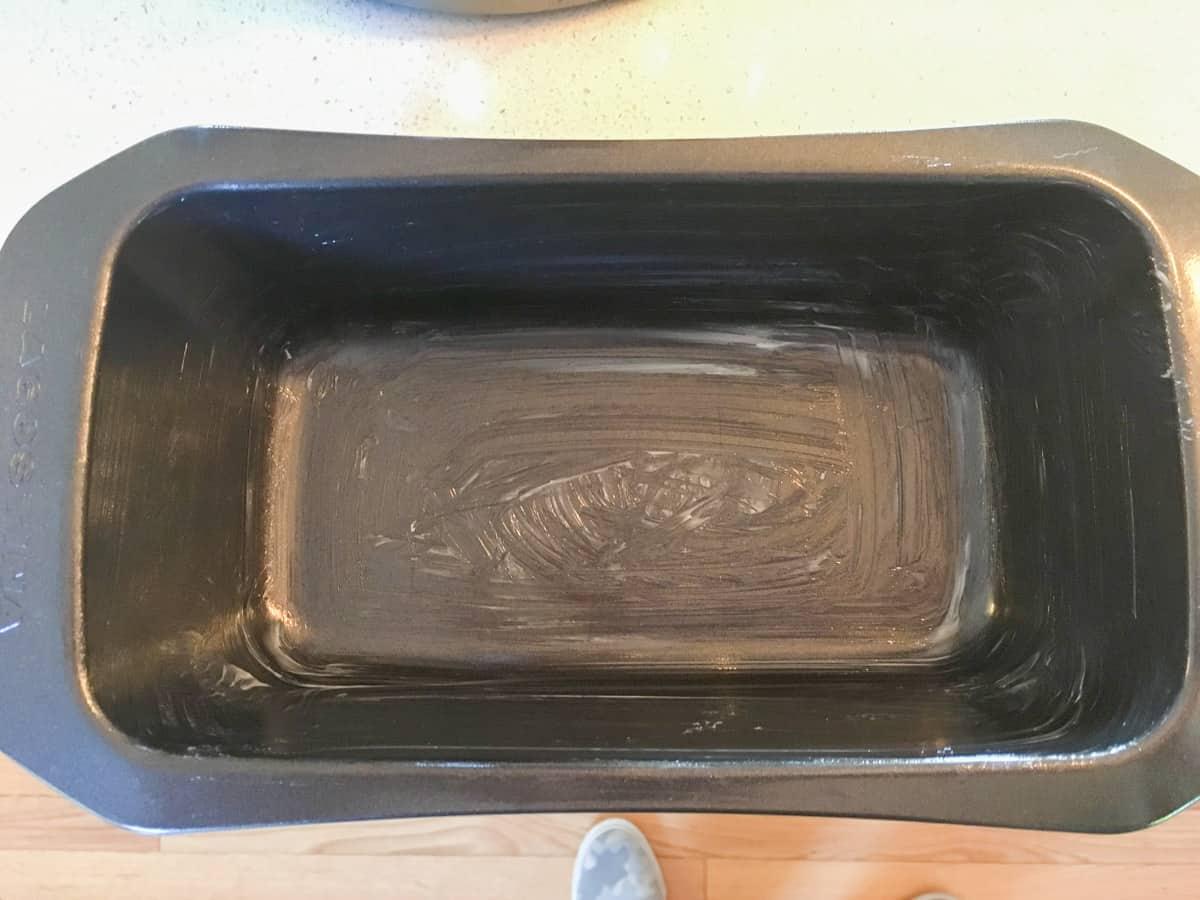 Greased loaf pan.