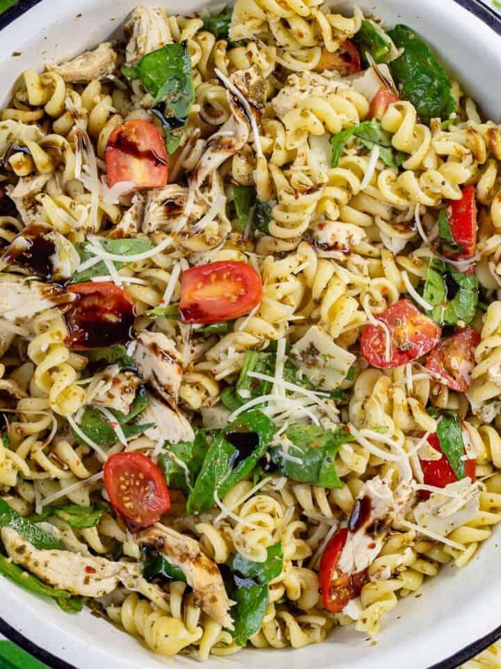 Close up image of Pesto Chicken Pasta Salad.