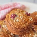 Close up image of Raspberry Banana White Chocolate Muffins
