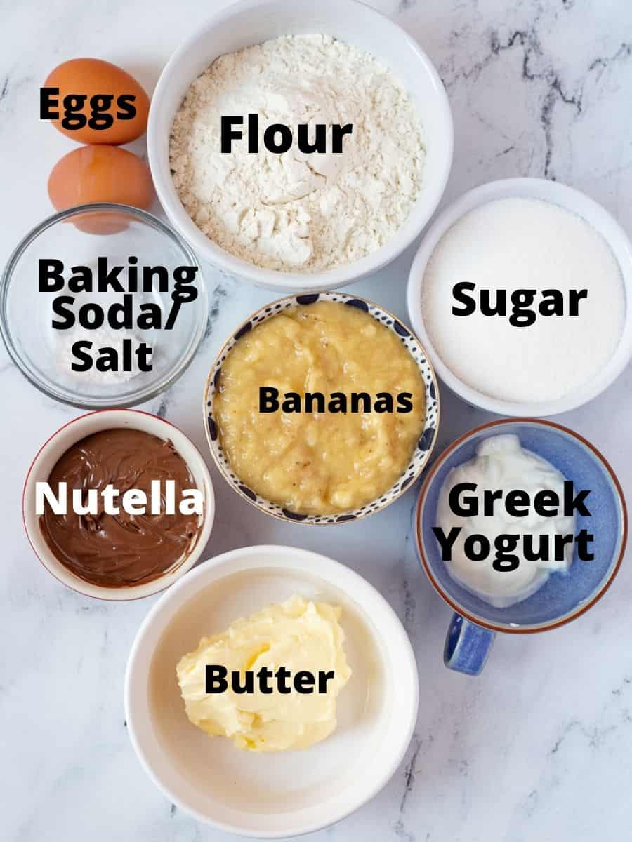 Ingredients for muffins with text overlay on each ingredient.