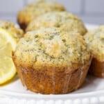 Close up image of bakery style lemon poppyseed muffins.