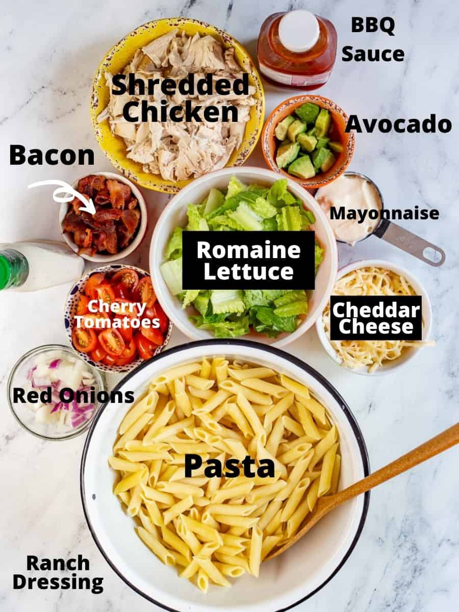 Ingredients in small bowls with text overlay for each ingredient.
