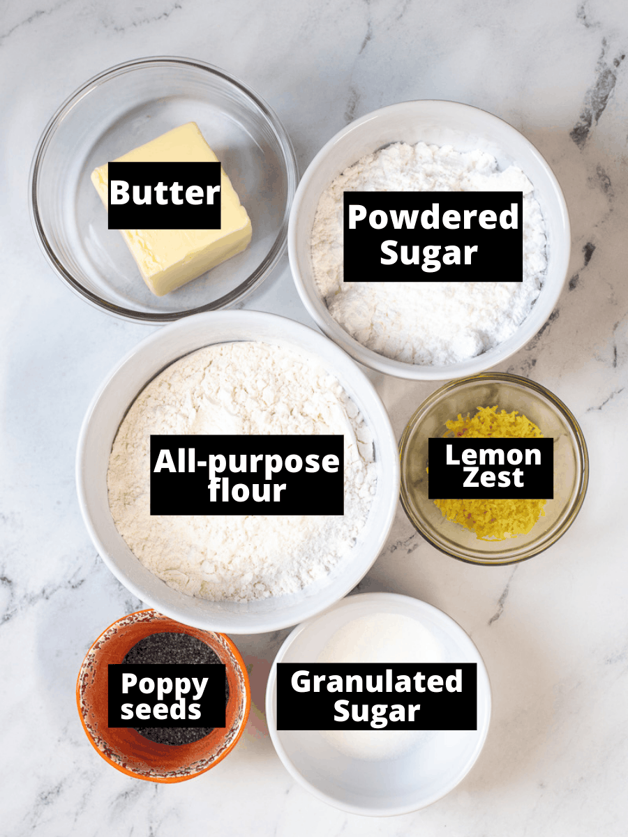 Ingredients for Shortbread with lemon and poppyseeds in containers with text overlay.