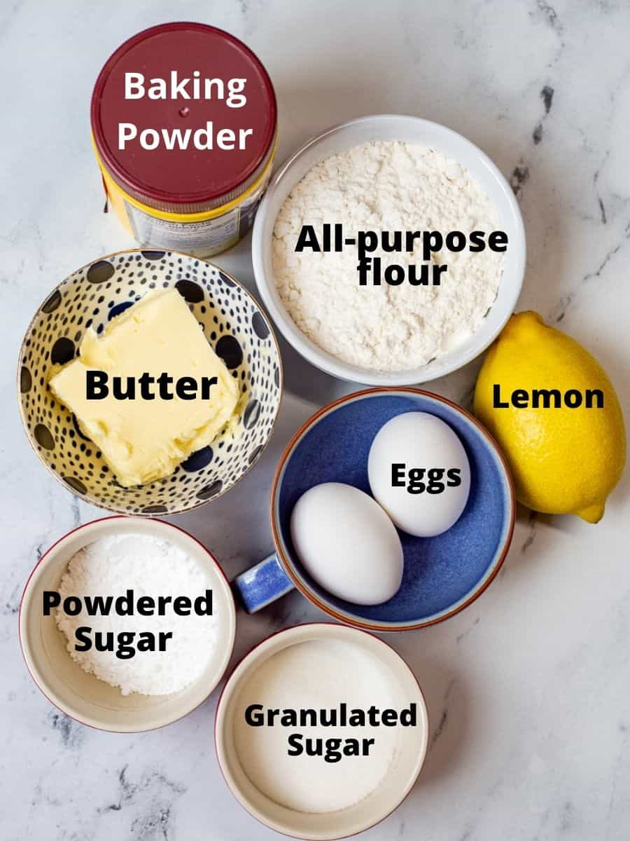 Ingredients for easy lemon bar recipe from scratch in bowls with text overlay.