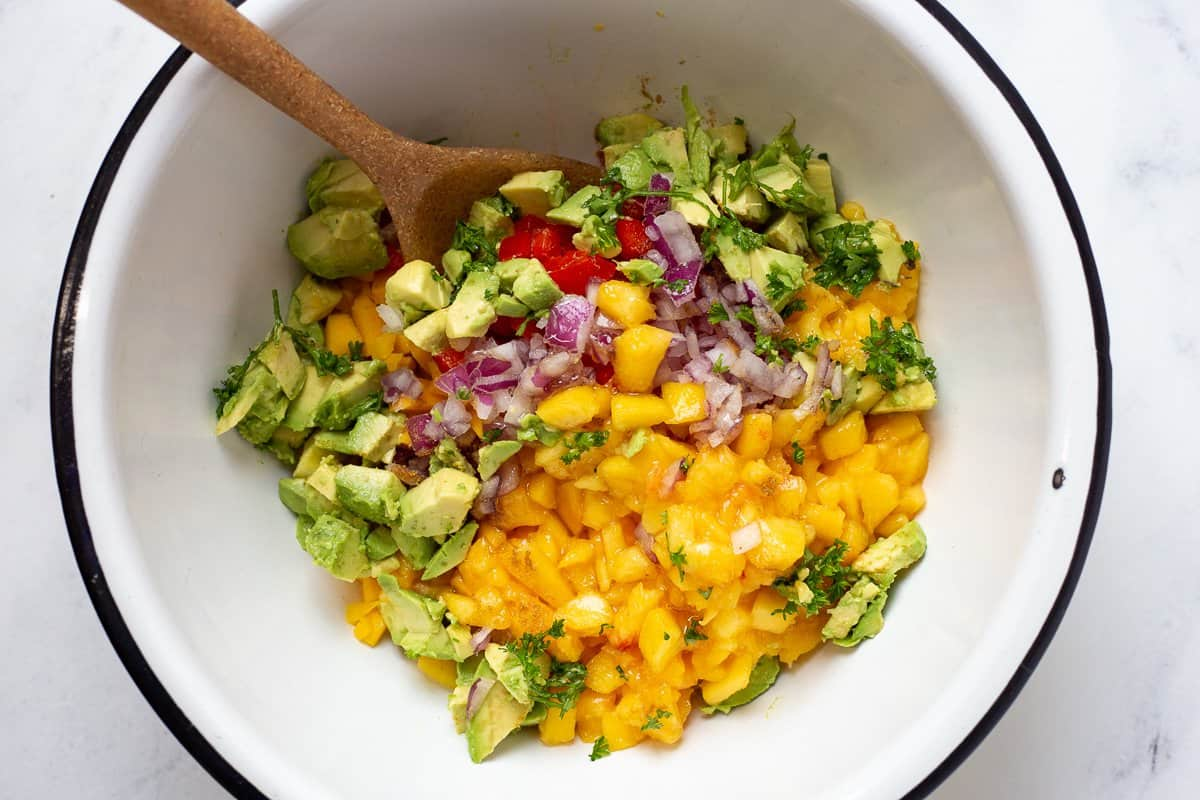 All ingredients are added to mixing bowl for the recipe.