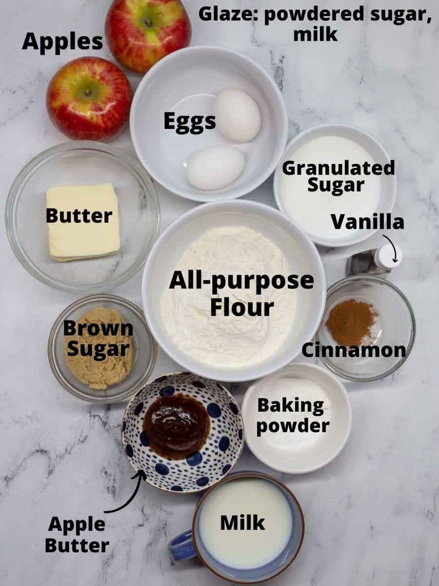 Ingredients for Apple Fritter Bread in small bowls with text overlay.