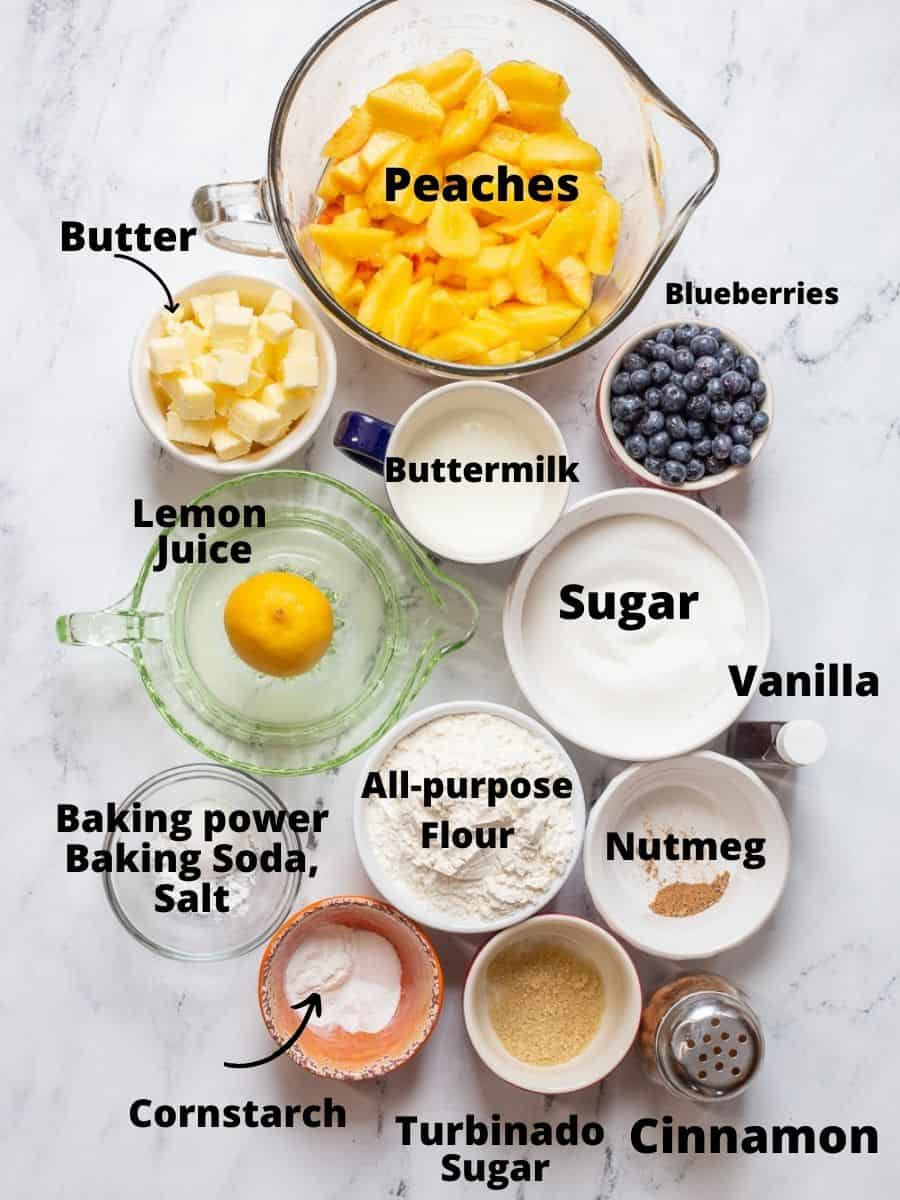 Ingredients for blueberry peach cobbler with text overlay for each item.