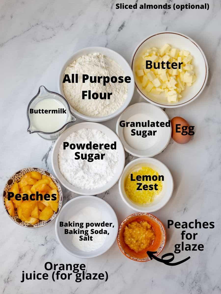 Ingredients for peach scones recipe.