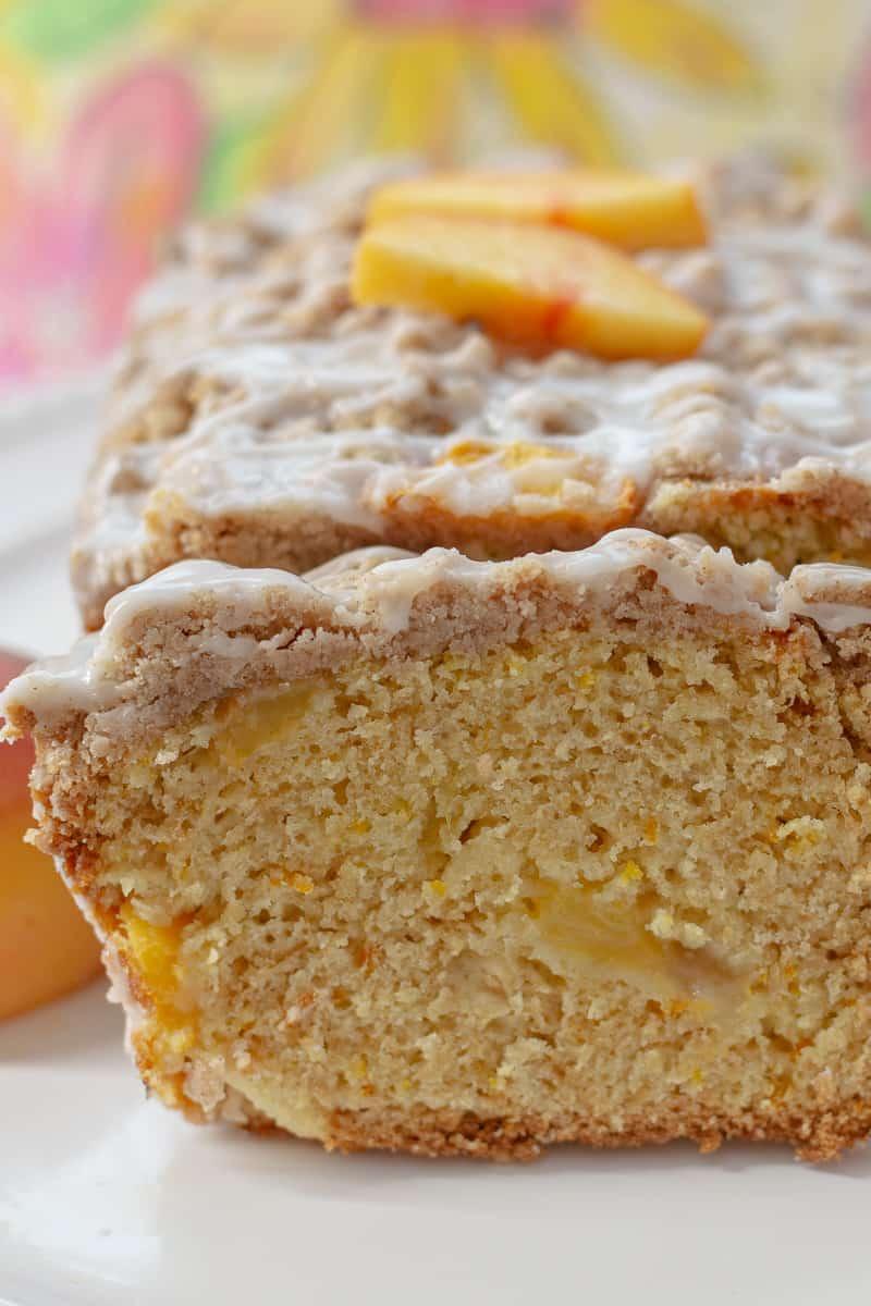 Close up image of Peach Cobbler Pound Cake.