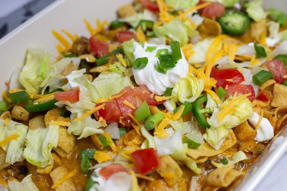 Close up image from side of taco casserole bake.