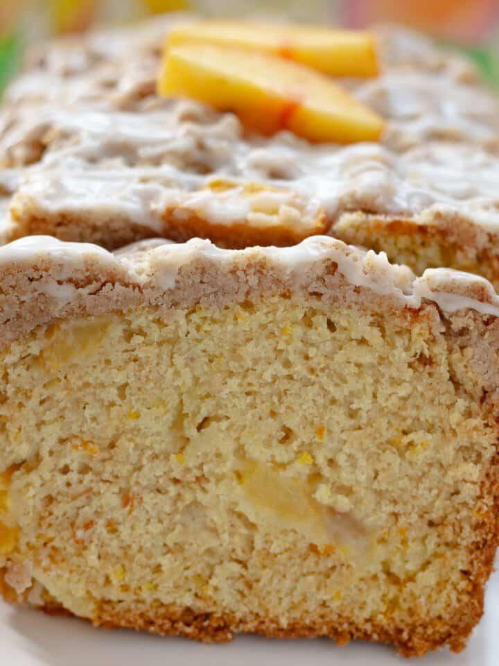 Close up view of sliced Peach Cobbler Pound Cake.