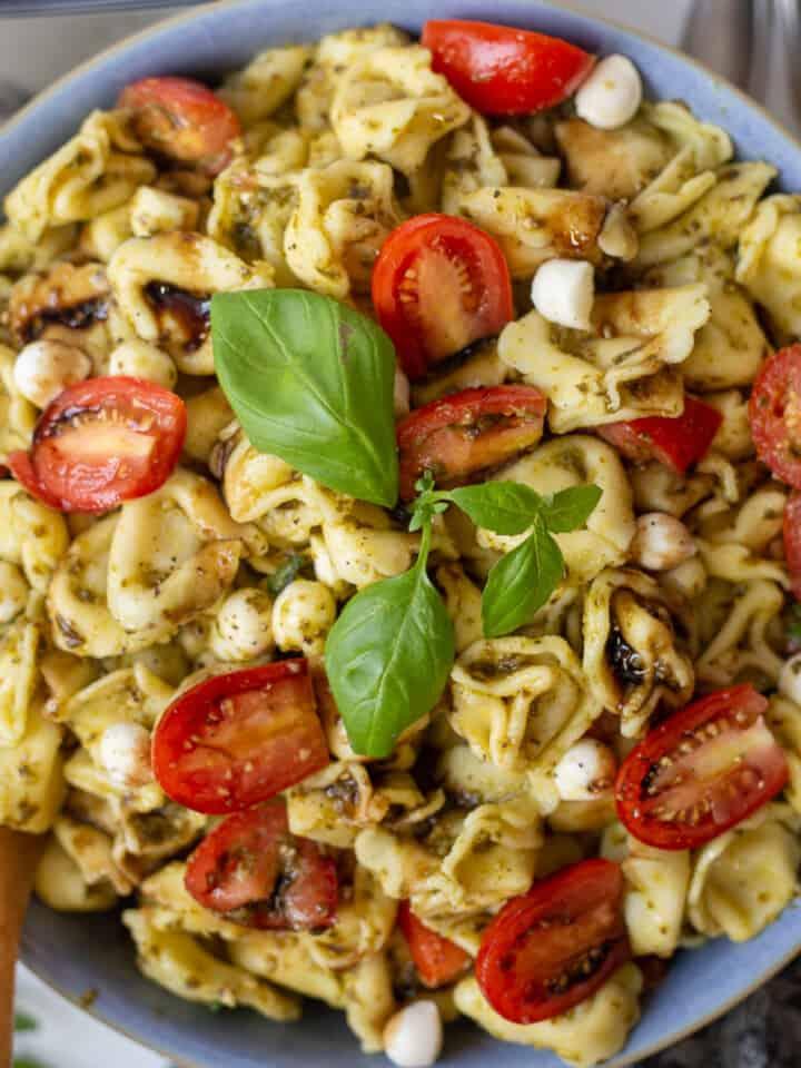 Close up image of caprese pesto pasta salad in bowl.