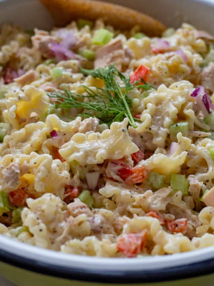 Close up image of tuna and pasta salad in bowl with spoon.