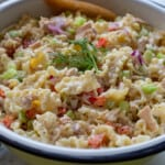 Close up image of tuna and pasta salad recipe in bowl.