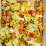 Close up image of walking taco casserole with text overlay.