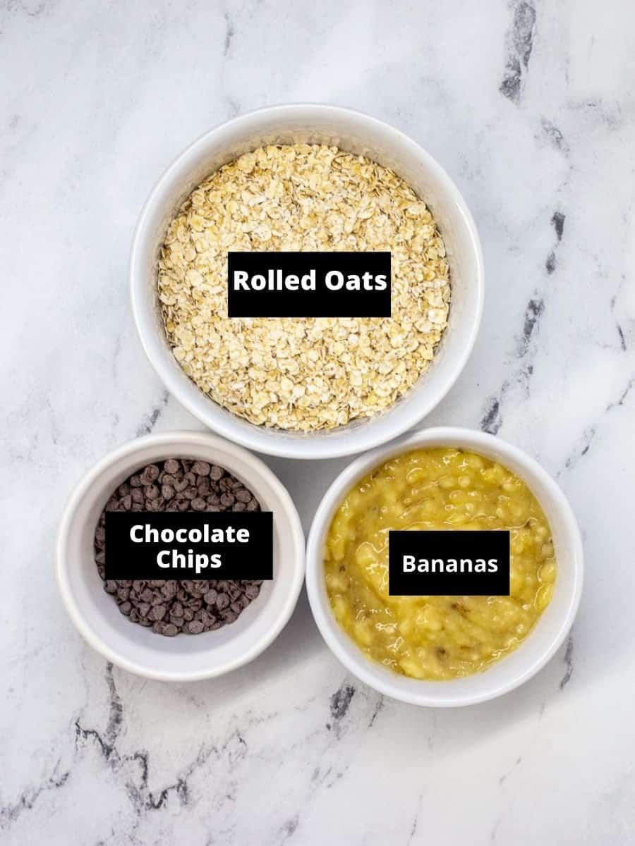 Ingredients for 3 ingredient banana oatmeal chocolate chip cookies.