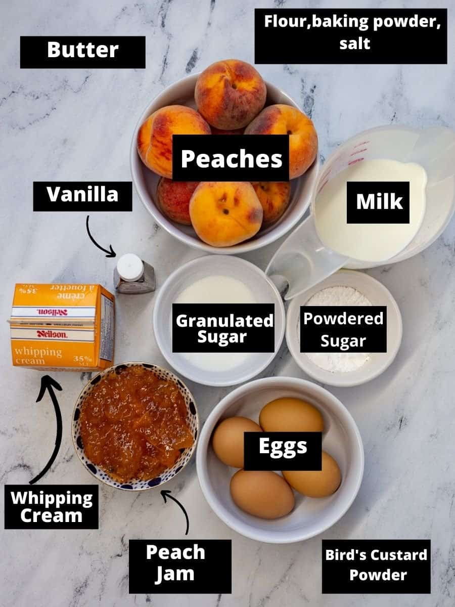 Ingredients for Fresh Peach Trifle in bowls with text overlay.