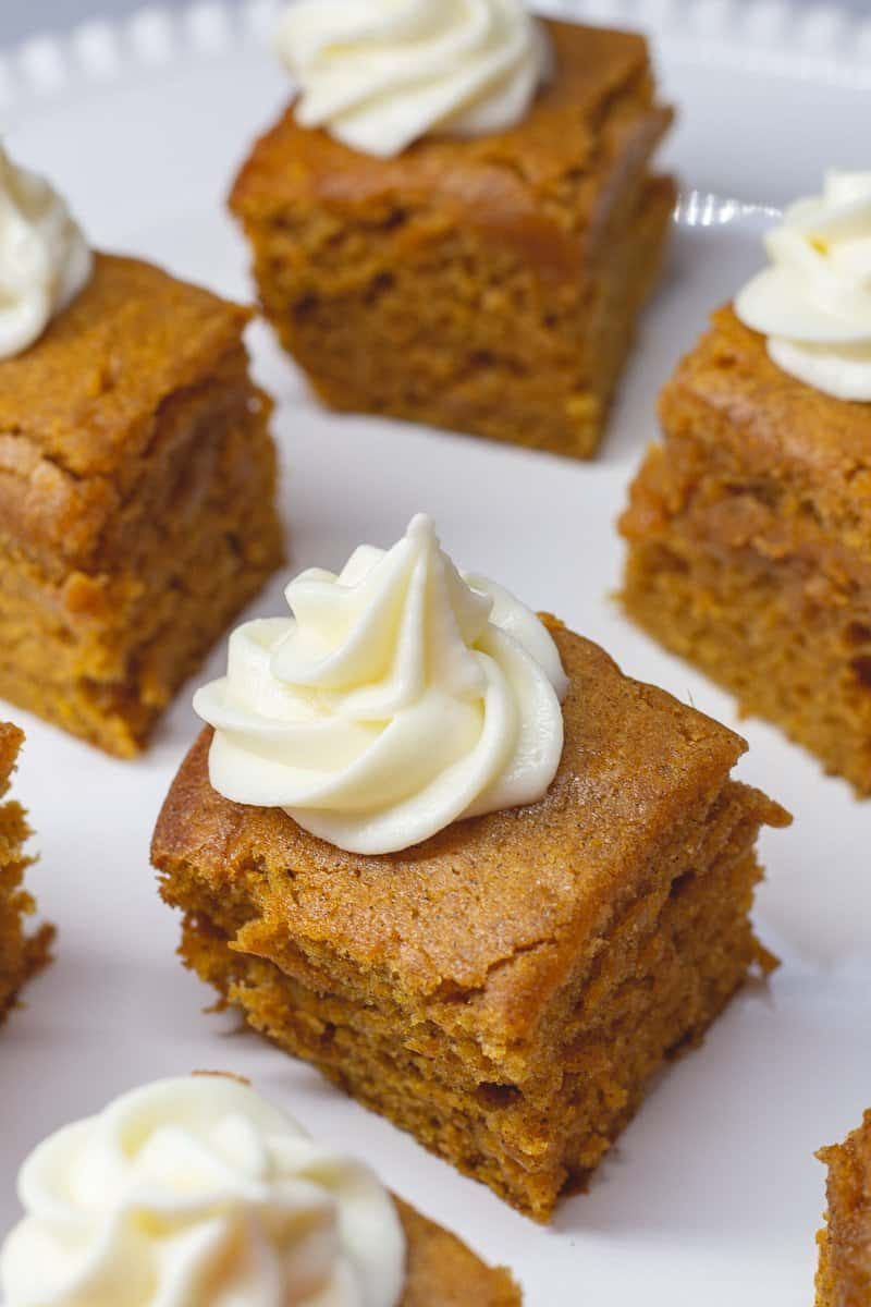 Close up image of pumpkin bars on white plate.